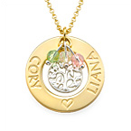 18K Gold Plated Family Tree Necklace with Birthstones