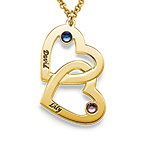 18k Gold-Plated Heart in Heart Necklace with Birthstones