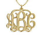 18k Gold Plated Sterling Silver Monogram Necklace
