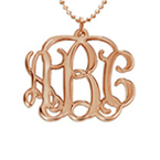 18k Rose Gold Plated Silver Monogram Necklace