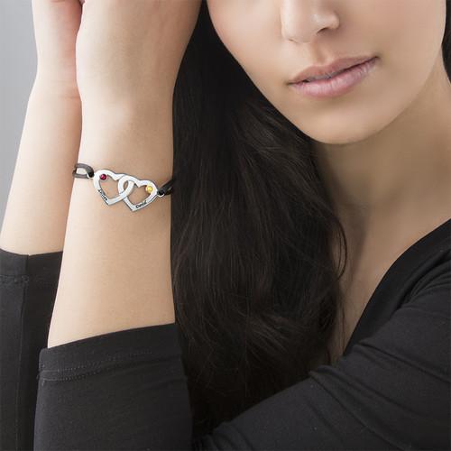 Couples Crystal Heart Charm Bracelet with Swarovski Birthstones - 2