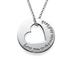 Cut Out Heart Engraved Necklace
