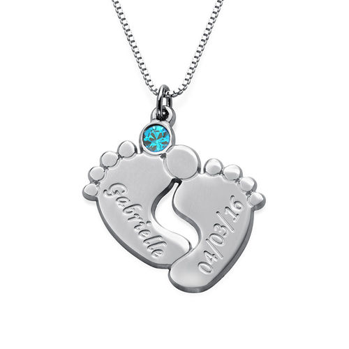 Engraved Baby Feet Jewelry With Birthstone