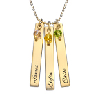 Engraved Bar Necklace with Birthstones in Gold Plating