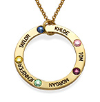 Engraved Birthstone Necklace for Mom - Gold Plated