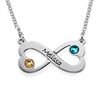 Engraved Infinity Heart Swarovski Necklace