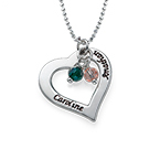 Engraved Necklace with Hollow Heart