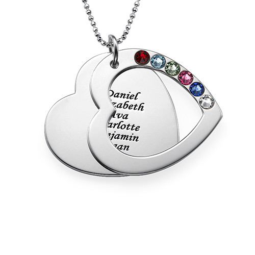 Family Heart Necklace with Birthstones - 1