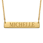 18k Gold Plated Engraved Bar Necklace