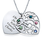Heart Shaped Filigree Family Tree Birthstone Necklace