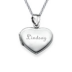 Mini Engraved Heart Locket in Sterling Silver