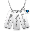 Personalized Name Tag Necklace with Birthstones