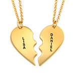 Personalized 18k Gold Plated Sterling Silver Breakable Heart Necklaces