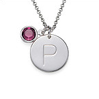 Silver Initial Pendant with Crystal