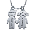 Silver Kids Holding Hands Charms Necklace