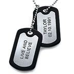 Stainless Steel Personalized Dog Tag with Two Tags