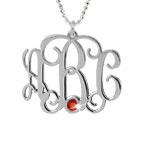 Sterling Silver Monogram Necklace with Swarovski Stone