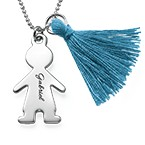 Tassel Necklace with Personalized Kids Charm in Silver