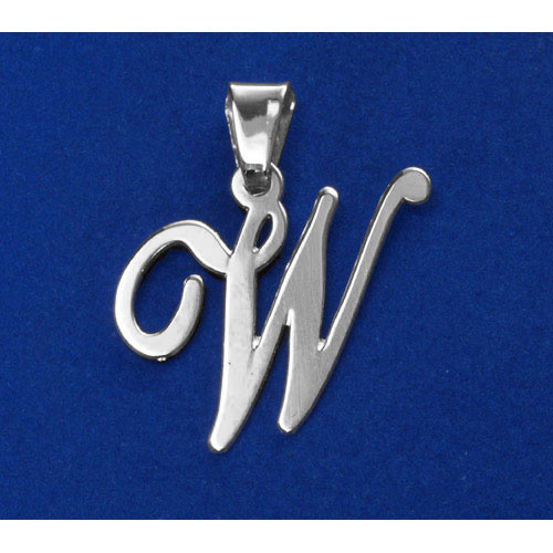 Sterling Silver Alphabet Initials 1 Inch Pendant - Letter W