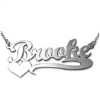 14k White Gold Heart Name Necklace