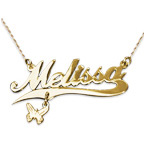 14k Gold Charm Name Necklace