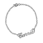 Silver and Crystal Name Bracelet / Anklet