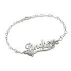 Side Heart Silver Name Bracelet / Anklet