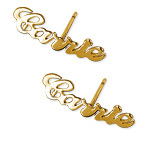 14K Gold Personalized Name  Earrings