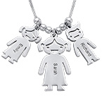 Mom and Children Charms Necklace