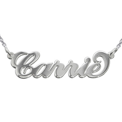 Double Thickness Silver Carrie-Style Name Necklace With a Rollo Chain