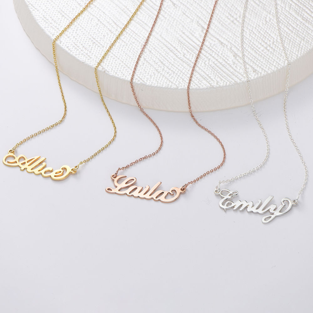 Small Sterling Silver Carrie-Style Name Necklace - 1