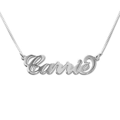 Small 14k White Gold Carrie-Style Name Necklace