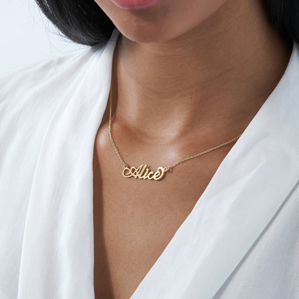 Small 18k Gold-Plated Sterling Silver Carrie-Style Name Necklace - 2