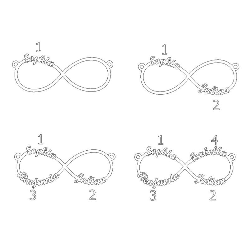 Infinity 4 Names Necklace - 3