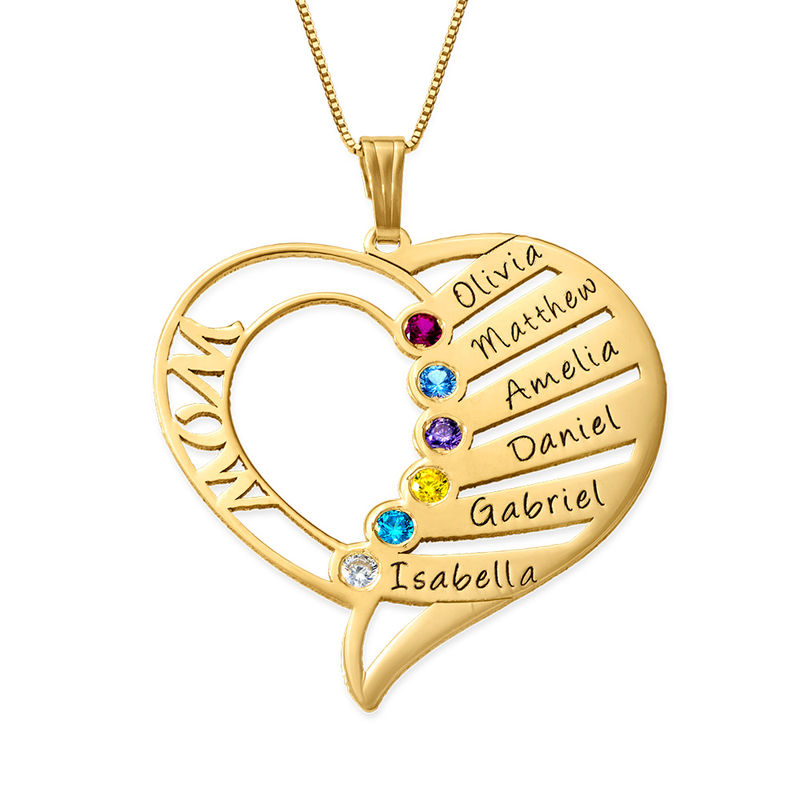 Engraved Mom Birthstone Necklace - 14K Gold