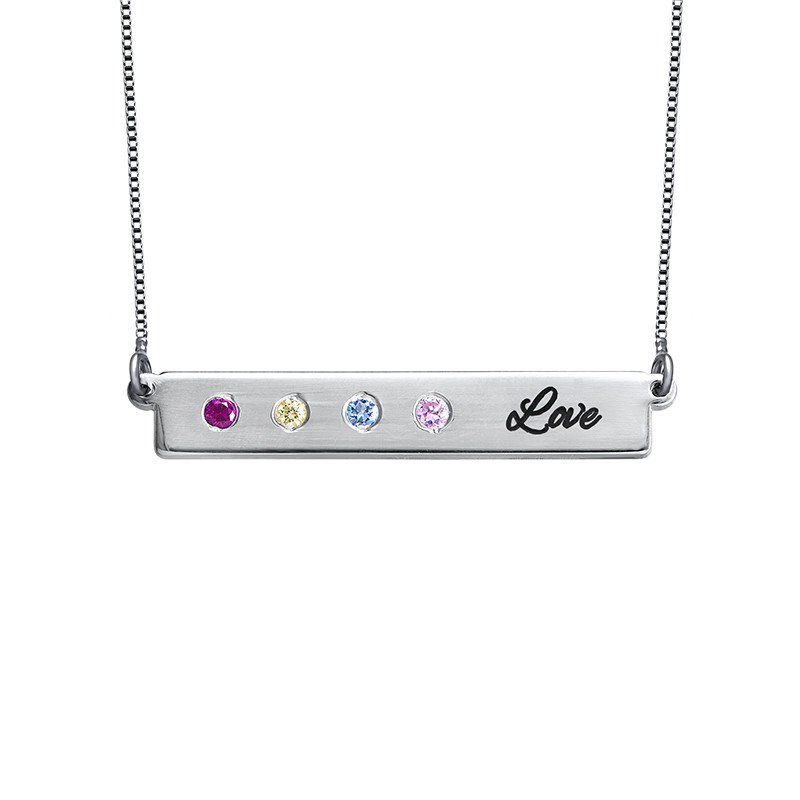 Birthstone Bar Necklace for Mothers