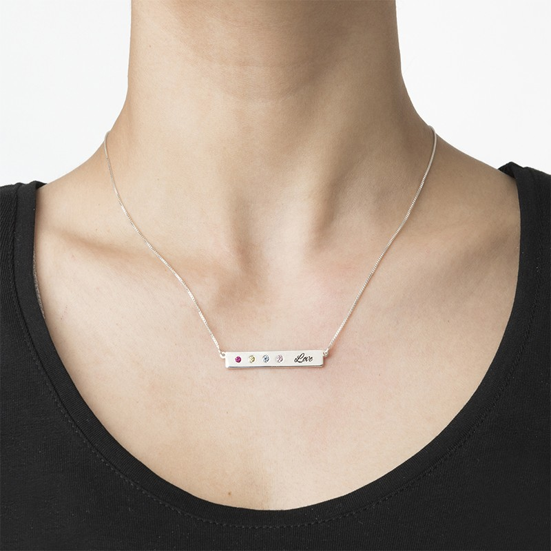 Birthstone Bar Necklace for Mothers - 2
