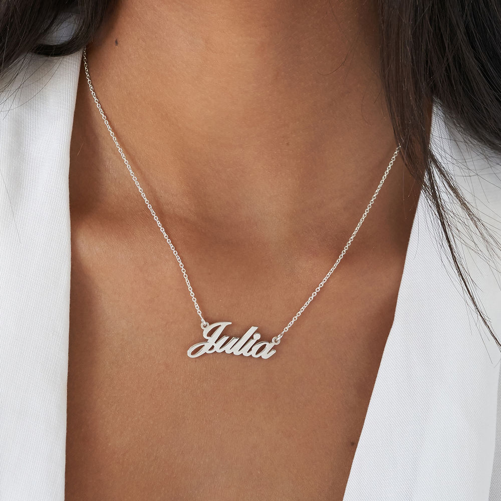Small Sterling Silver Classic Name Necklace - 3