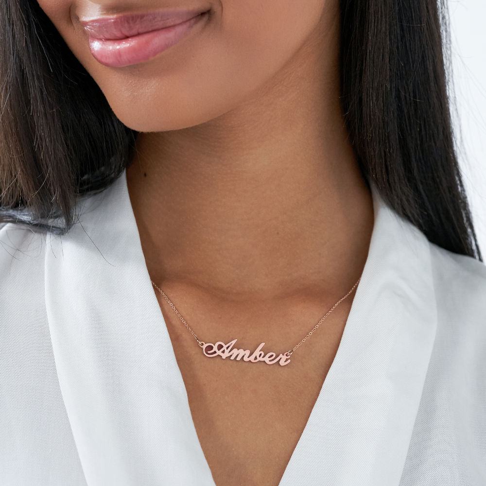 Small Classic Name Necklace in 18k Rose Gold Plating - 2
