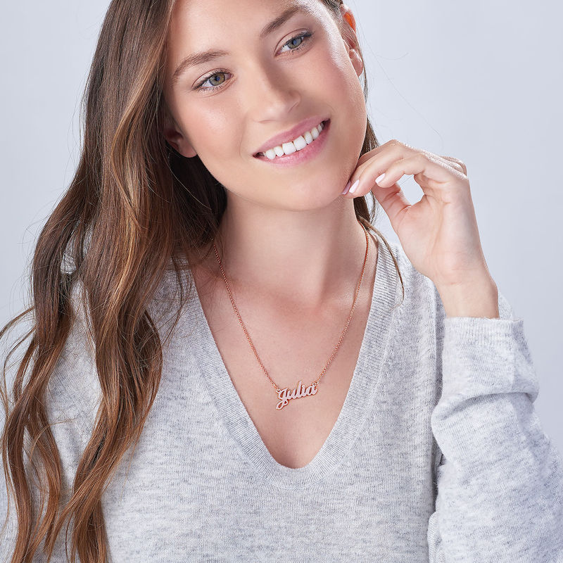 Small Classic Name Necklace in 18k Rose Gold Plating - 4