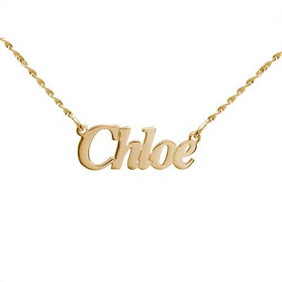 Small Angel Style 14k Gold Name Necklace