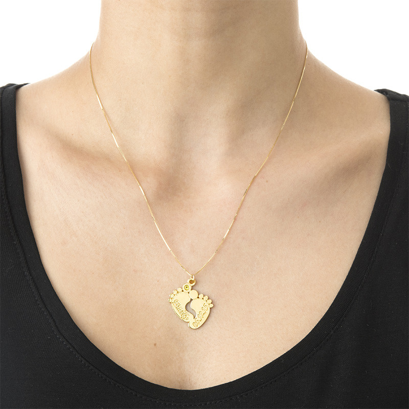 Personalized Baby Feet Necklace in 14K Gold - 1