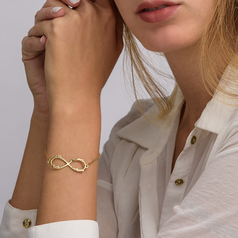 Infinity 4 Names Bracelet with Gold Plating - 3