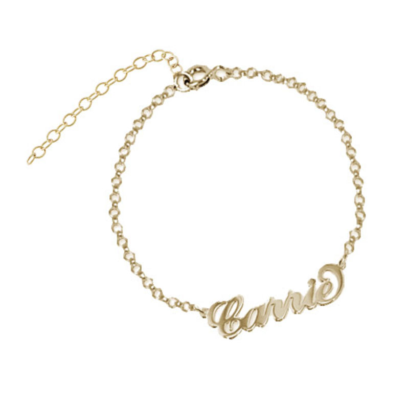 18k Gold-Plated Sterling Silver Carrie-Style Name Bracelet / Anklet