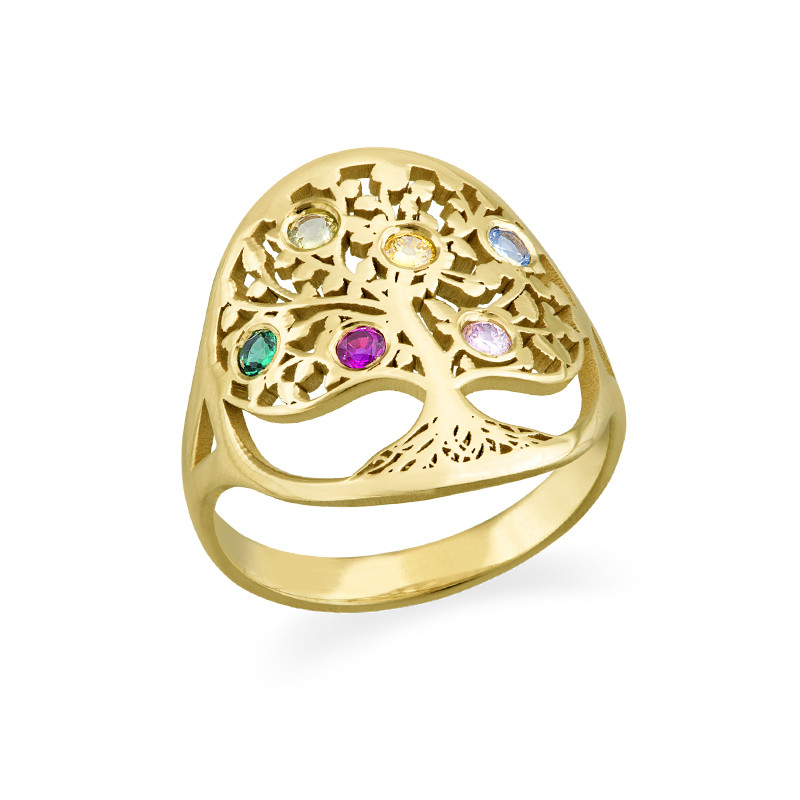 Family Tree Jewelry - Birthstone Ring with Gold Plating - 1