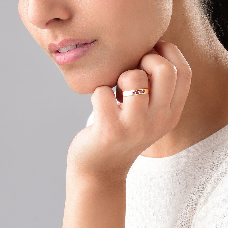 Baby Feet Ring with Inner Engraving in Rose Gold Plated - 3