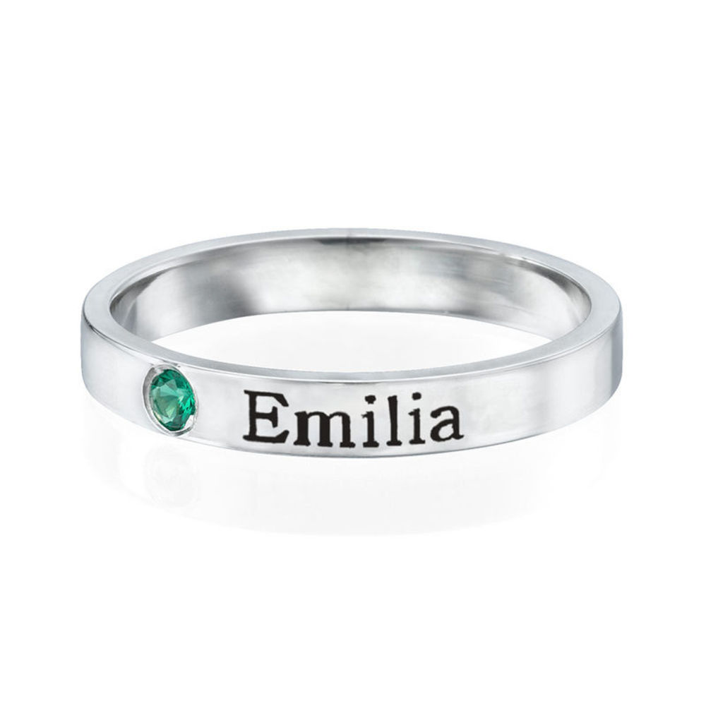 Stackable Birthstone Name Ring - Sterling Silver - 1