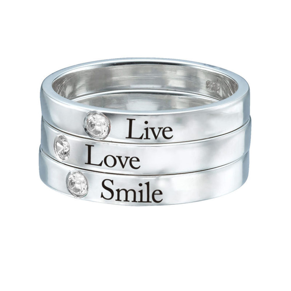 Stackable Birthstone Name Ring - Sterling Silver - 3