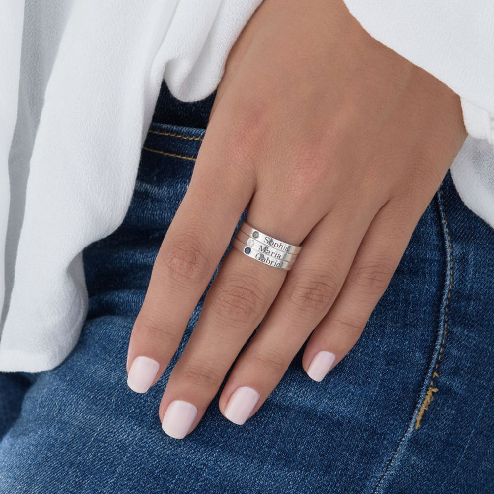 Stackable Birthstone Name Ring - Sterling Silver - 6