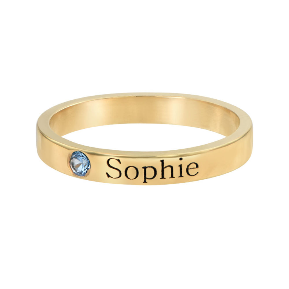 Stackable Birthstone Name Ring - 14K Yellow Gold - 1